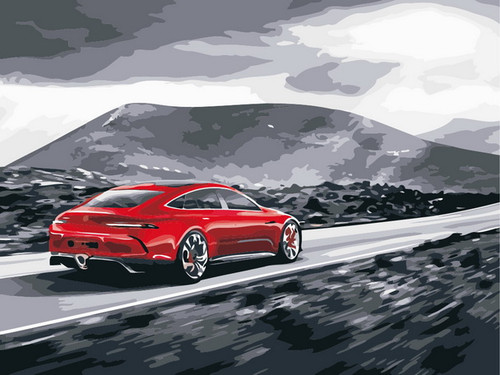 Cherry Red Car Mountain Range - DIY Paint By Numbers Kit