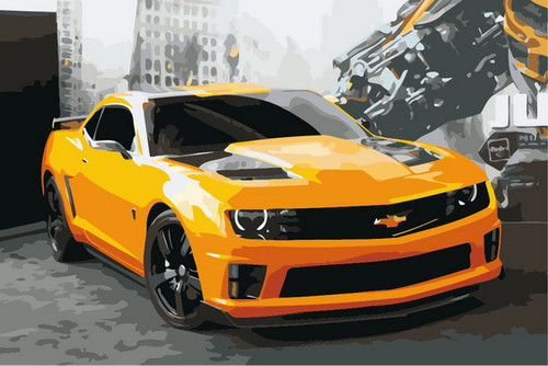 Yellow & Black Race Car - DIY Paint By Numbers Kit