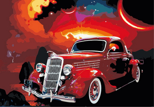 Old Time Hotrod Style Car - DIY Paint By Numbers Kit