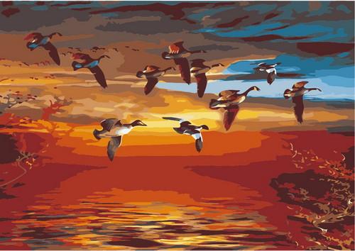 Flock of Birds Flying - DIY Paint By Numbers Kit