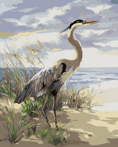 Nature's Finest Grey Crane - DIY Paint By Numbers Kit
