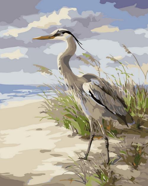 Beachside Grey Crane - DIY Paint By Numbers Kit