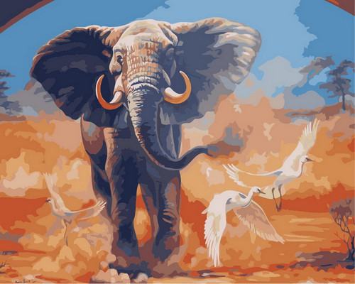 Colorful Elephant Scenery - DIY Paint By Numbers Kit