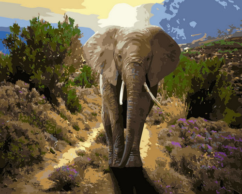 Greenery Nature Elephant Path - DIY Paint By Numbers Kit