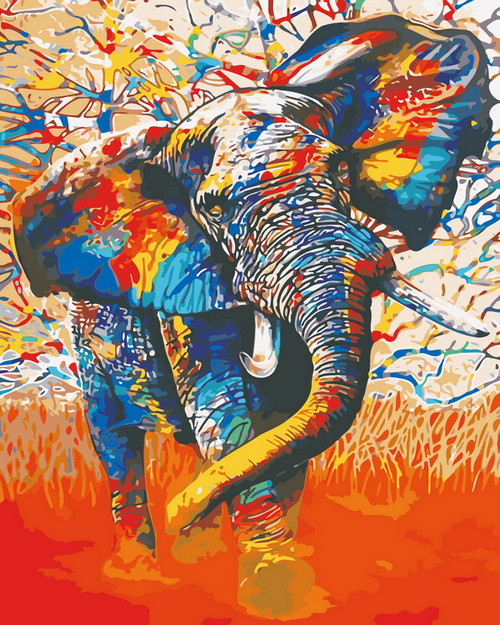 Abstract Elephant Graphic - DIY Paint By Numbers Kit