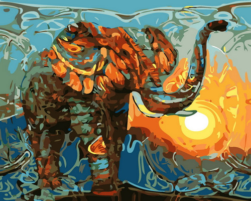 Colorful Abstract Elephant Sunset - DIY Paint By Numbers Kit