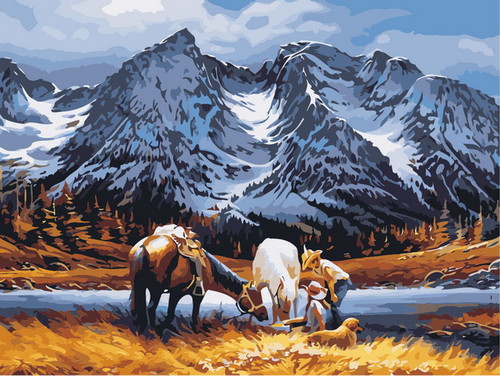 Mountain Range Horses - DIY Paint By Numbers Kit