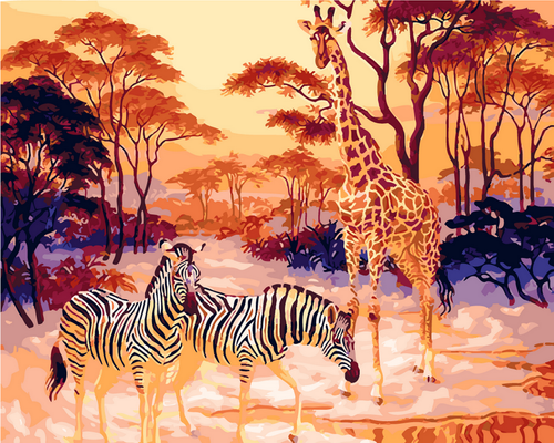 Zebra & Giraffe Scenery - DIY Paint By Numbers Kit