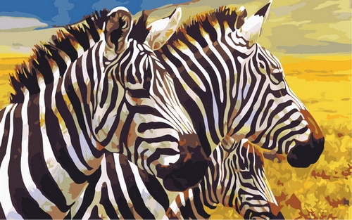 Zebra Duo Sunset - DIY Paint By Numbers Kit