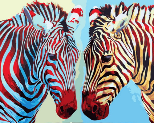 Colorful Abstract Zebras - DIY Paint By Numbers Kit