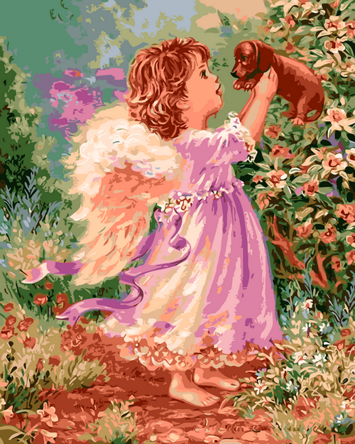 Young Angel & Puppy - DIY Paint By Numbers Kit