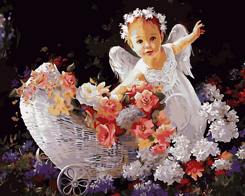 Infant Angel Flowers - DIY Paint By Numbers Kit
