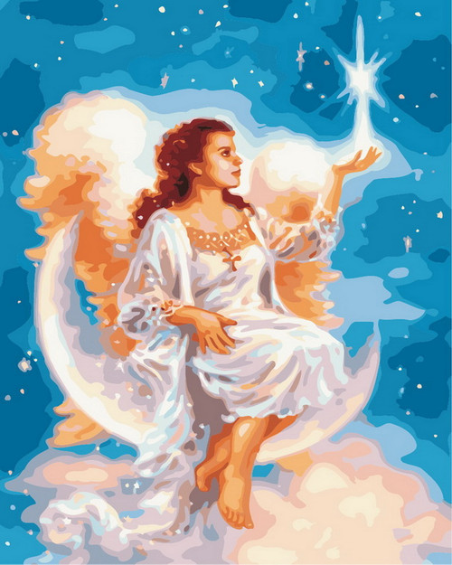 Angel Sitting On The Moon - DIY Paint By Numbers Kit