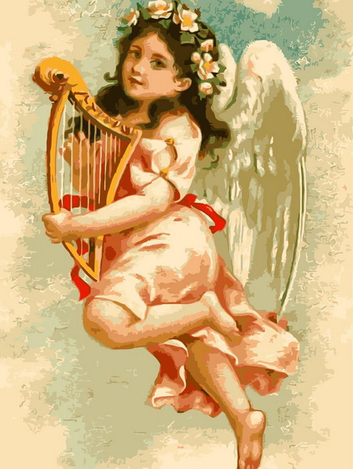 Infant Angel With Harp - DIY Paint By Numbers Kit