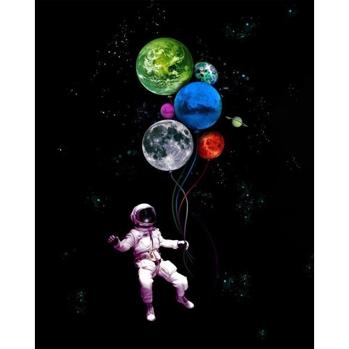 Spaceman Planet Birthday Balloons - DIY Paint By Numbers Kit
