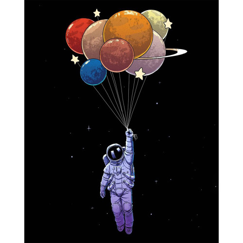 Balloons Floating Through Space - DIY Paint By Numbers Kit