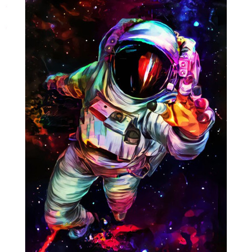 Abstract Spaceman - DIY Paint By Numbers Kit