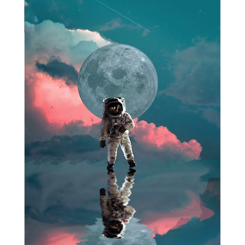 Spaceman Abstract Sky Reflection - DIY Paint By Numbers Kit