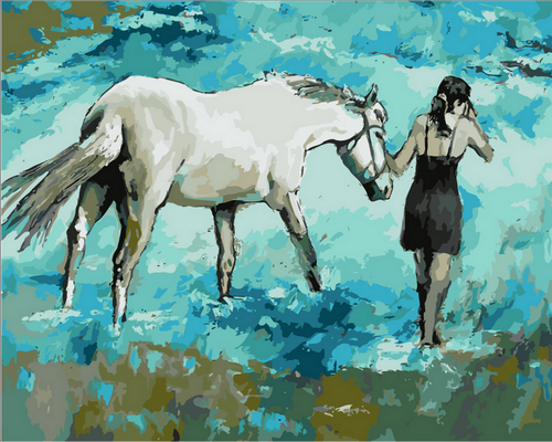 Blue Horse Abstract - DIY Paint By Numbers Kit