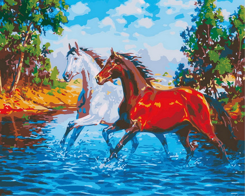 Majestic Horse Duo - DIY Paint By Numbers Kit
