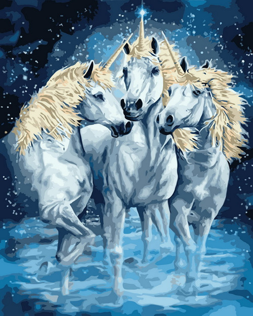Sparkle Unicorn Trio - DIY Paint By Numbers Kit