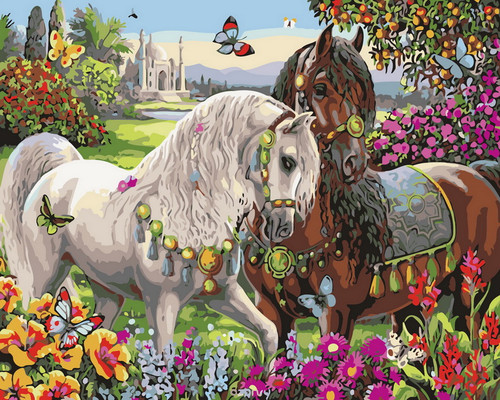 Floral Nature Horse View - DIY Paint By Numbers Kit