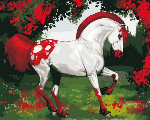 Cherry Red & White Horse - DIY Paint By Numbers Kit