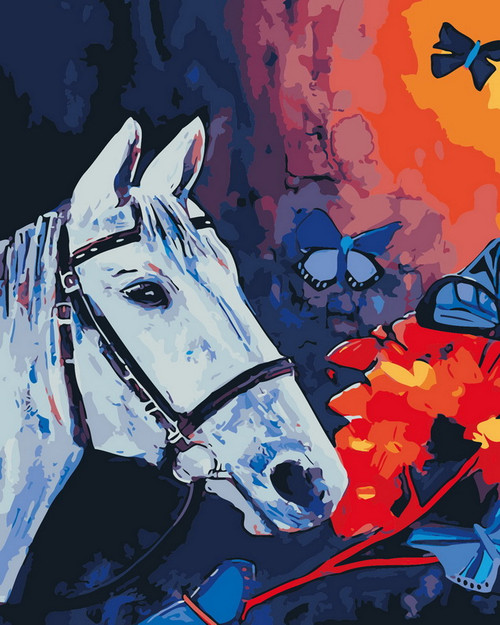 Horse & Butterfly Abstract - DIY Paint By Numbers Kit