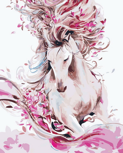 Luxurious Pink & White Horse Abstract - DIY Paint By Numbers Kit