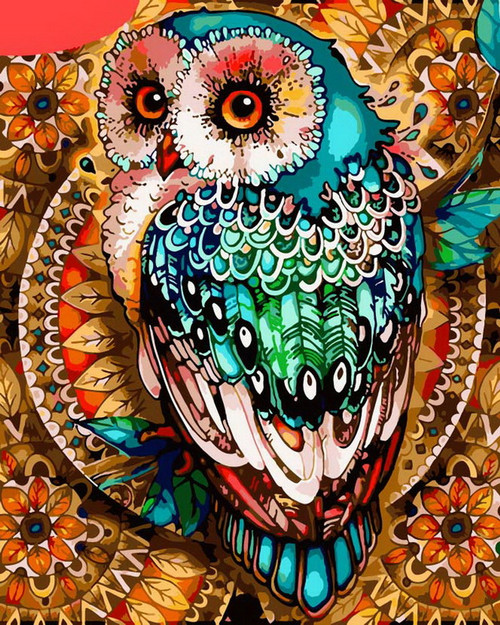 Colorful Owl Abstract - DIY Paint By Numbers Kit