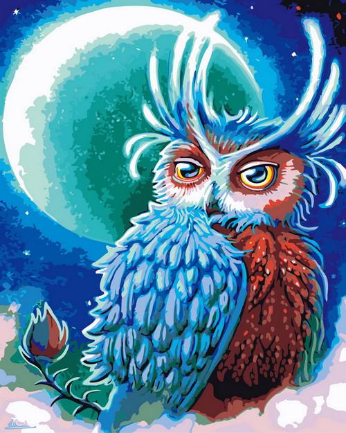 Blue Moon Owl - DIY Paint By Numbers Kit