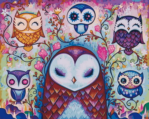 Happy Owl Variety - DIY Paint By Numbers Kit