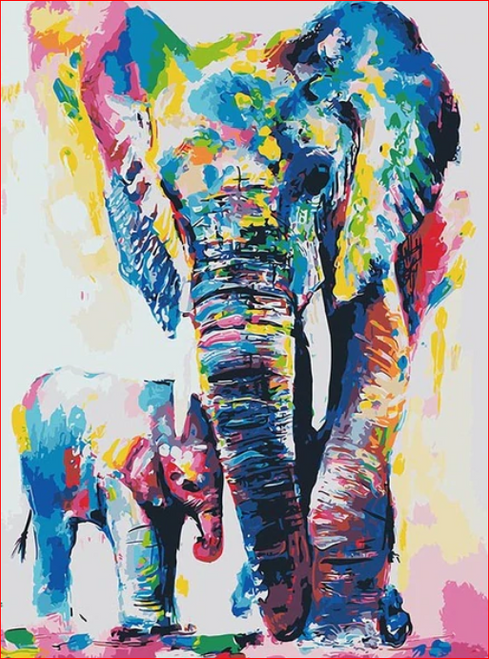Elephant & Baby Colors - DIY Painting By Numbers Kit