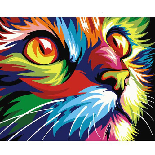 Focused Colorful Cat - DIY Painting By Numbers Kit