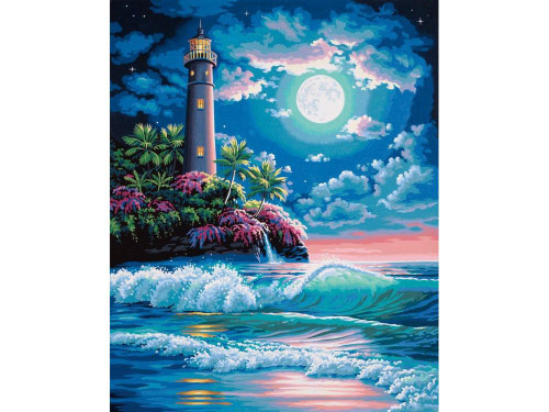 Lighthouse Midnight Moon - DIY Painting By Numbers Kit
