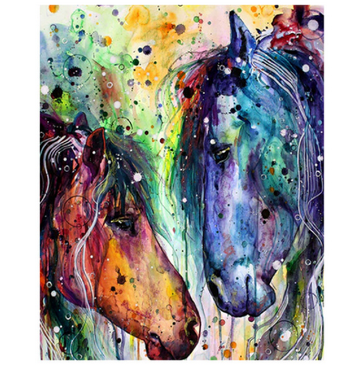 Blue and Orange Horses - DIY Painting By Numbers Kit