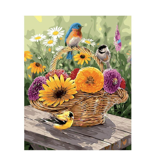 Birds On Flower Basket - DIY Painting By Numbers Kit