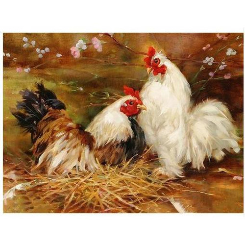 Chicken and Rooster - DIY Painting By Numbers Kit
