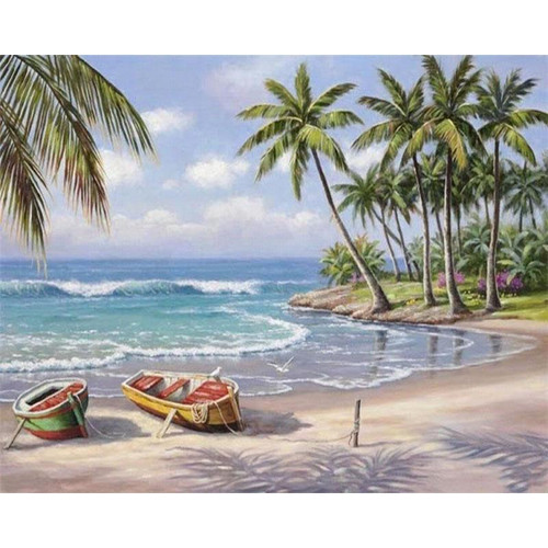 Boats on the Seashore - DIY Painting By Numbers Kits