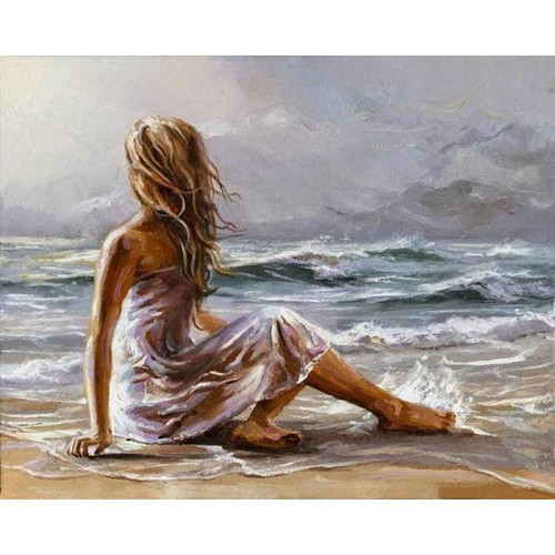Girl on the Beach - DIY Painting By Numbers Kit