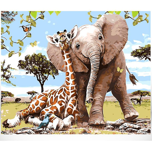 Baby Giraffe & Elephant - DIY Painting By Numbers Kit