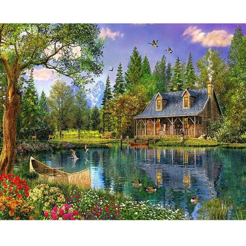 Cottage By The River - DIY Painting By Numbers Kit