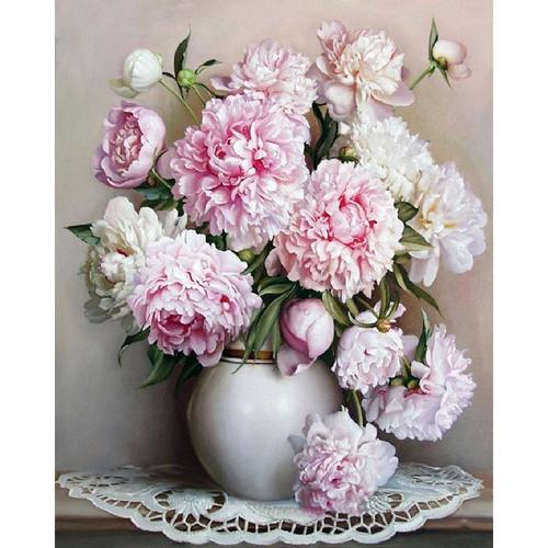 Pink Flowers Vase - DIY Painting By Numbers Kits
