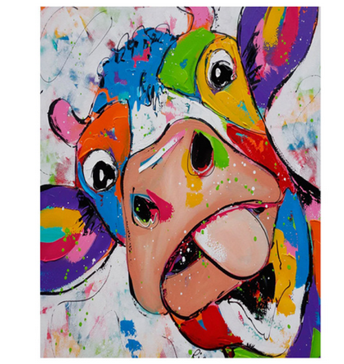 Funny Color Cow - DIY Painting By Numbers Kit