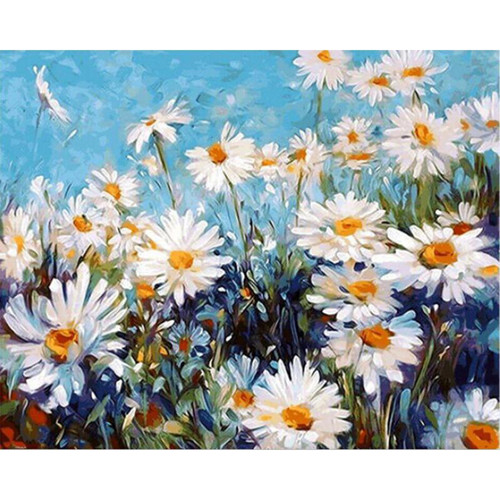 White Daisies - DIY Painting By Numbers Kit