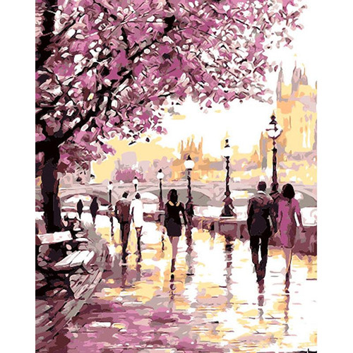Abstract City Life - DIY Painting By Numbers Kit