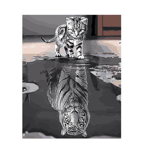Cat's Reflection Of Tiger - DIY Painting By Numbers Kit