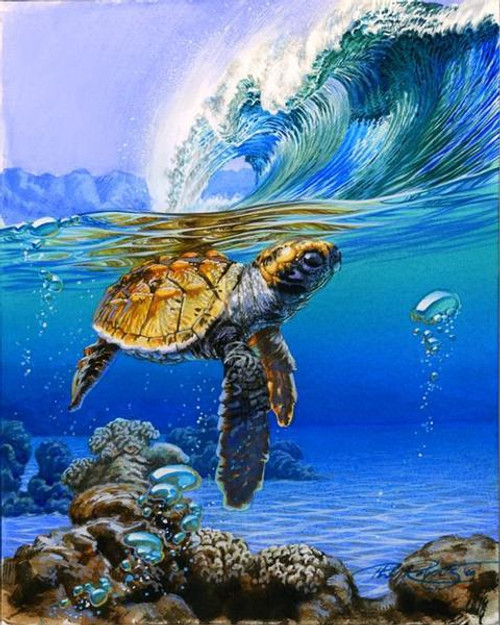 Sea Waves and Turtle - DIY Painting By Numbers Kit