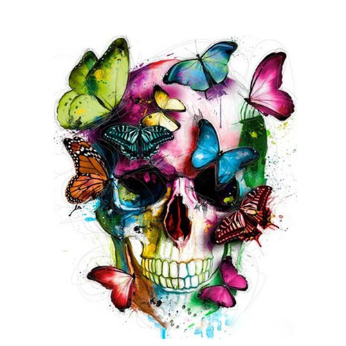 Colorful Skull With Butterflies - DIY Painting By Numbers Kit