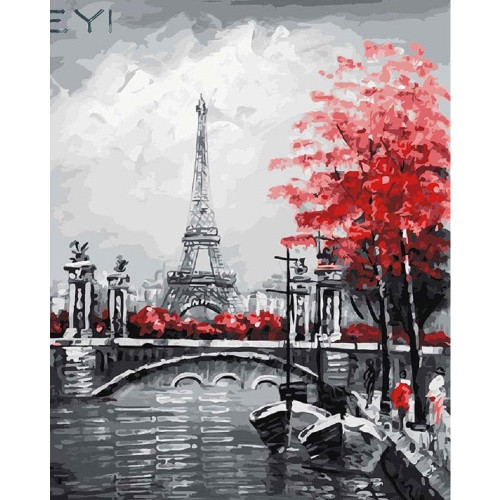 Paris in Crimson - DIY Painting By Numbers Kit